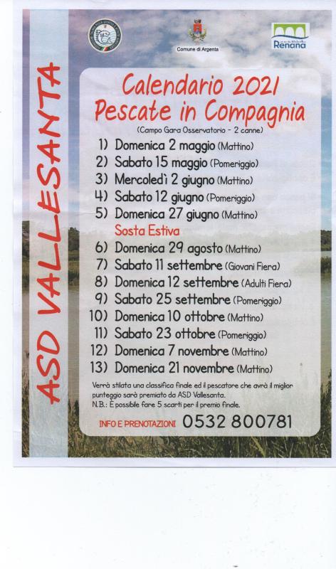 Calendario gare di pesca...